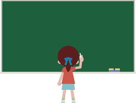黑板框架·兒童朝向黑板