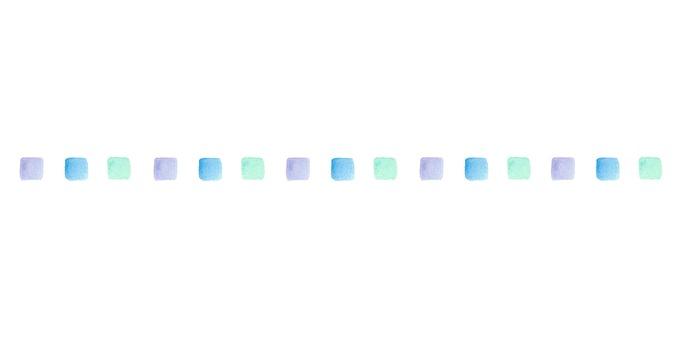 Watercolor cold-colored square line