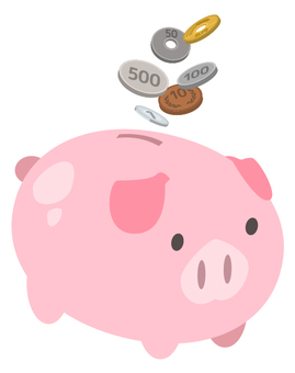 Saving money in a pig's piggy bank