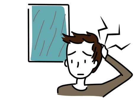 Man having a headache due to rain