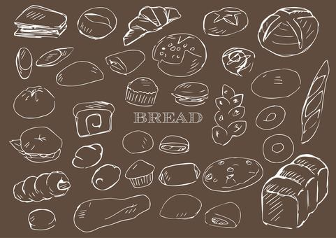 Hand drawn bread line drawing white