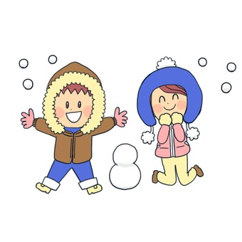 Man and woman playing in the snow