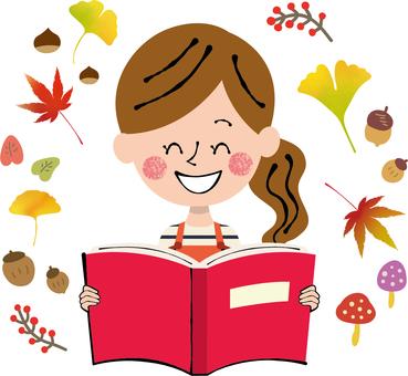 Autumn book reading Fall autumn frame female apron