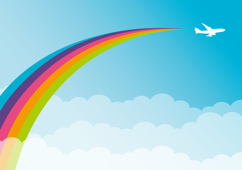 Flying machine cloud rainbow