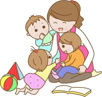 Nursery teachers and children