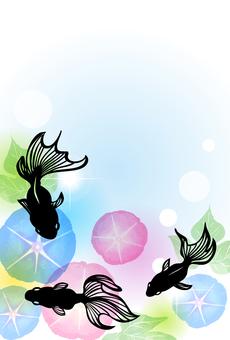 水彩風朝顔と切り絵風金魚のポストカード