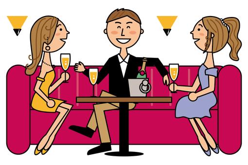 Nightclub customers and clerk