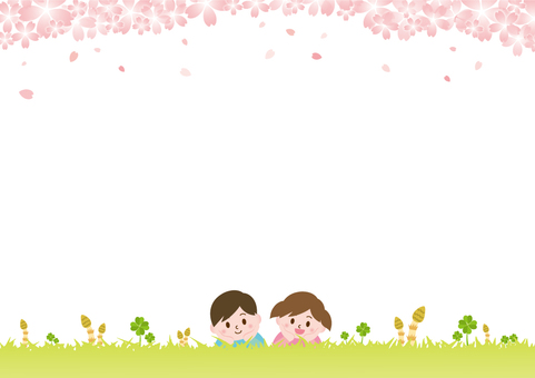 Children lying on the grass on spring _ Sakura C 01