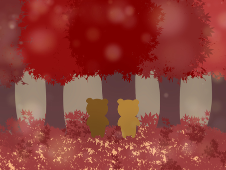 Autumnal leaves and bear