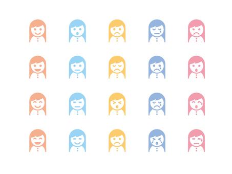 Long hair girl icon (color)