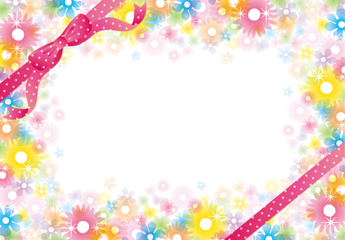 Glitter Clear Flower Frame (Pink Ribbon)