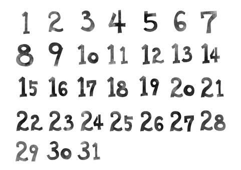 日曆資料*日期編號*黑白