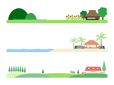 Japanese landscape (summer) illustration set