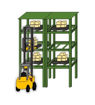 Organize warehouse rack with forklift