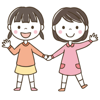 Friendly child / girl / hand-painted / Friends