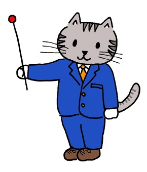 Cat with pointing stick