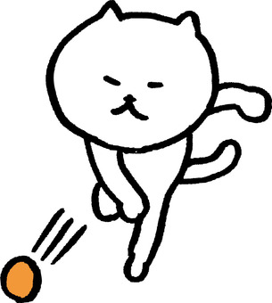 Cat throwing ball