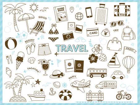 Travel line drawing illustration set
