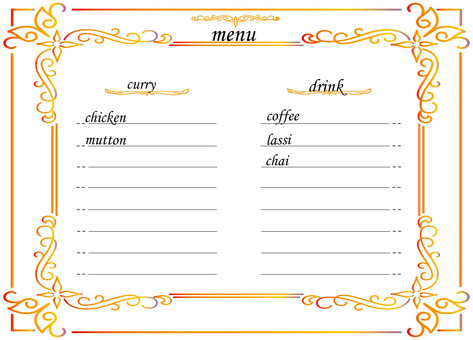 咖哩店的菜單