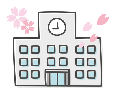 Hand-drawn wind Spring school building illustration