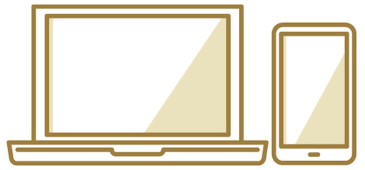Gold based computer and smartphone icon