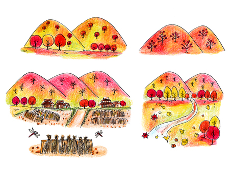 Illustration of mountain village in autumn