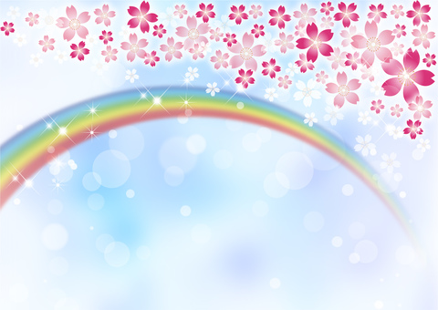 Sakura Sky Rainbow Background