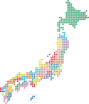Japan map map dots three-dimensional colorful
