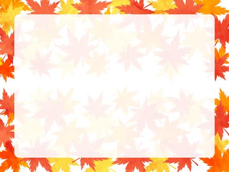 秋の紅葉 モミジの水彩風フレーム素材