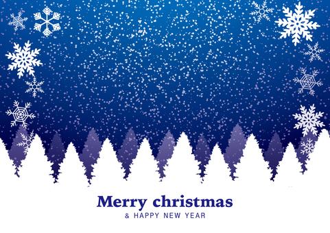 雪のクリスマスカード(冬空/木々)青色