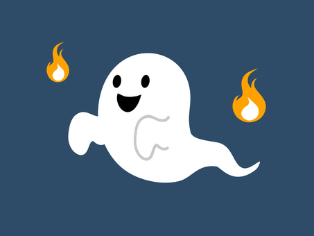 Illustration of ghost and fireball