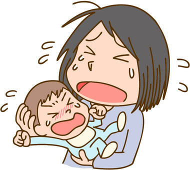 Crying mother and daughter
