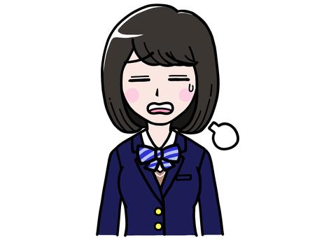 Tired student girl JK schoolgirl sighing