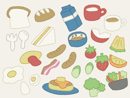 Western-style breakfast illustration set