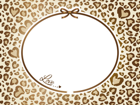 Heart's leopard pattern and ribbon card 05
