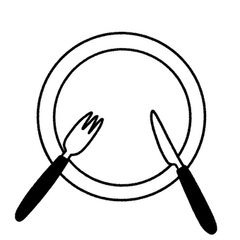 Plates, forks, knives during meals