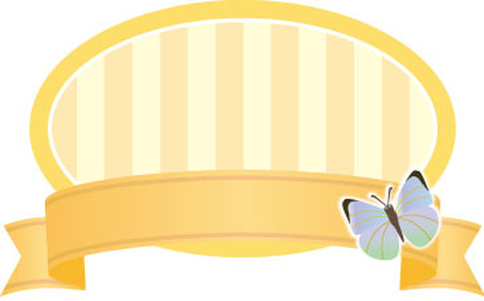 Butterfly and Border Ribbon Label Yellow