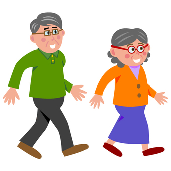 Elderly couple (walking)