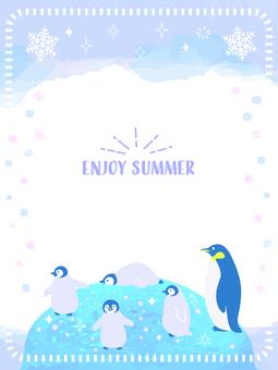 夏 水彩 ペンギン フレーム 3