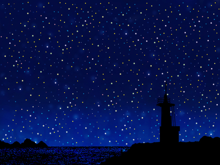 Starry sky and lighthouse