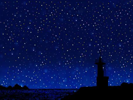 밤하늘과 등대