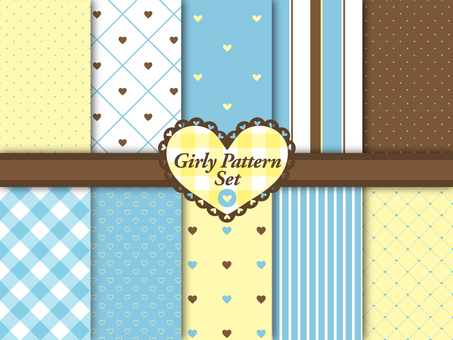 Girly Color Heart Pattern Set Blue