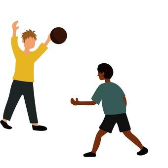농구를하는 2 명