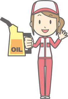 Mechanic woman - oil - whole body