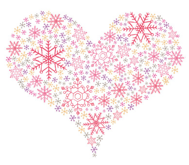 Heart pink made of snow crystal