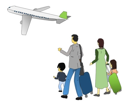 Family travel by plane
