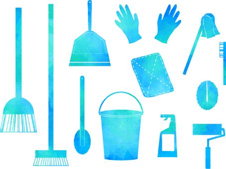 청소 용품 수채화