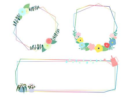 Iridescent flower frame