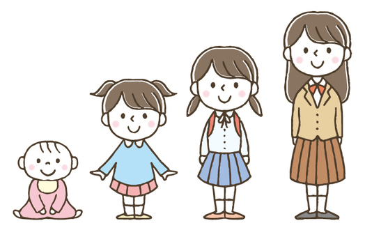 Girl's Growth / Children / Cute / Hand-painted
