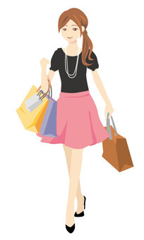 Shopping woman whole body